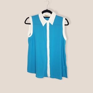 Altar'd State silk blue white trim sleeveless top